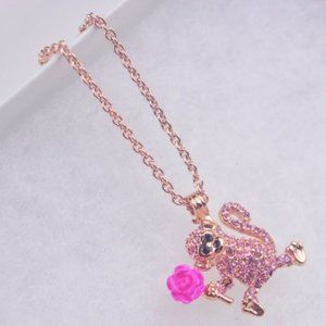 Kate Spade Pink Diamond Monkey Necklace
